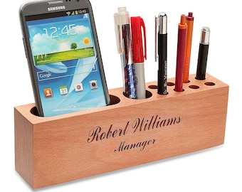 Personalized Beech Wood Phone Stand With Pen Organizer