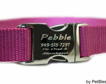 """Personalized Dog Collars Pink Dog Collar 3/4"""" or 1"""""""