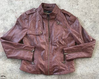 Vintage Women's GUESS Faux Brown Leather Jacket