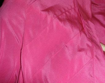 Vintage Pink Pleated Silk Open Long Sleeved top