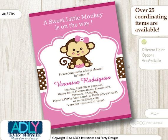 Girl monkey baby shower invitation printable diy card for girl filmwisefo