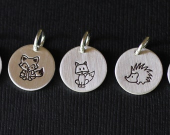 Woodland Creatures Hand Stamped Charms; Sterling Silver Charms