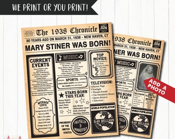80th Birthday Poster, 80th Birthday Newspaper - Back in 1938, 80th Anniversary Poster. Digital OR Printed. 80th Birthday Gift.