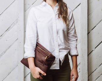 Leather Crossbody Convertible Clutch Purse in Burgundy Leather: The Ibis by Awl Snap