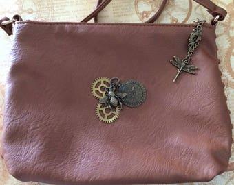 Steampunk bee brown clutch bag