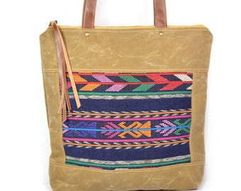 bucket tote • waxed canvas zipper tote bag • geometric print - Guatemalan textile - woven - brown waxed canvas - gifts under 100