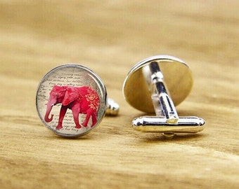 cufflinks, red elephant cufflinks, custom wedding cufflinks, elephant cuff links, groom cufflinks, round square cufflinks, tie clip or set