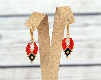 Red earrings gift-for-daughter gift-for-mom gift-for-mother-in-law-gift beaded earrings elegant earrings bohemian earrings gypsy earrings