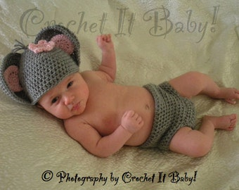 Crochet Little Mouse Hat and Diaper Cover Set Photo Prop - Newborn - PATTERN ONLY
