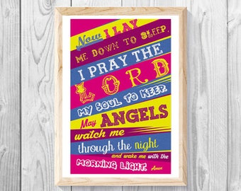 Now I Lay Me Down to Sleep Prayer - I Pray the Lord My Soul to Keep print, Child's Prayer Wood Sign, Nursery Sign, Kids Bedroom Art.