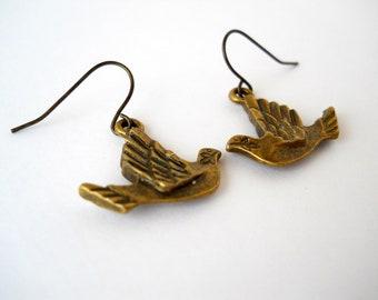 Antique Brass Dove Earrings
