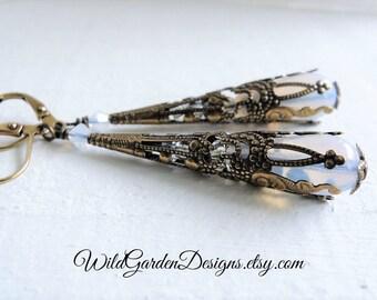 White Opal Teardrop Earrings Wedding Jewelry Antiqued Brass Filigree Cone Earrings Vintage Style Opal Glass Bohemian Style Gift For Her