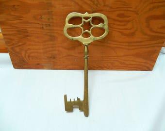 "large brass key, 9"", home decor, wedding, Halloween, decorative key, solid brass, craft supplies"