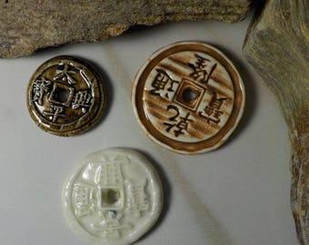 3 China coins Handmade Ceramic Beads - Chinese coin bead set #128