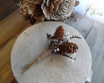 Rustic Pine Cone Boutonniere with burlap wrapped twig stem.