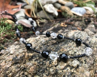 Beautiful Handcrafted Black & White Glass Beaded Sterling Silver Necklace