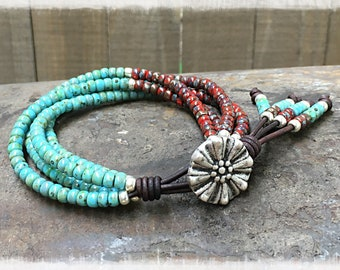 Beaded Wrap Bracelet* Picasso Seed Bead Leather Wrap Bracelet* Seed Bead Bracelet* Beaded Bracelet* Boho Wrap Bracelet*