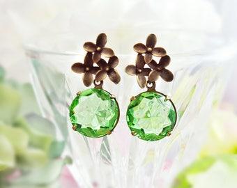 Peridot Earrings - Swarovski Crystal Earrings - Light Green Earrings - Green Dangle Earrings - Cherry Blossom - August Birthstone Gift E9331