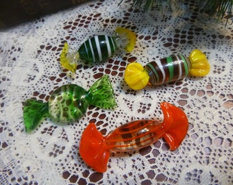 Venetian Art Glass Candy, 4 Various Pieces of Murano Glass Candy, Hand Blowed Glass Candy   (T)