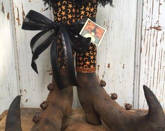 "Primitive Halloween Folk Art Witch Boots~ 12"" tall Shelf Sitters w/fabric stockings~"