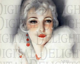 Superb RARE White Blond 1920s Art Deco FLAPPER. VINTAGE Illustration. Art Deco Digital Download