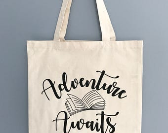 100% Cotton Canvas Tote Bag - Adventure Awaits - Book