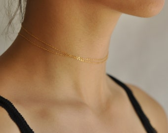 Thin gold necklace Etsy