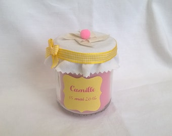 Candle pink & yellow, customizable, baptism baby shower