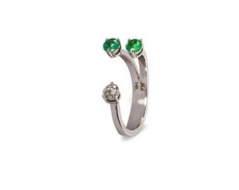 open ring, dots diamond ring, emerald ring, jemstone ring, white gold ring, diamond ring, solid gold, 14k, , cuff ring, dual stone ring