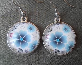 Earrings blue flowers, glass cabochons