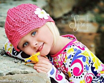 Crochet Toddler Hat, Rose Pink Hat for Girls, Crochet Hat with Flower, Toddler Newsboy Hat, 2T to 4T