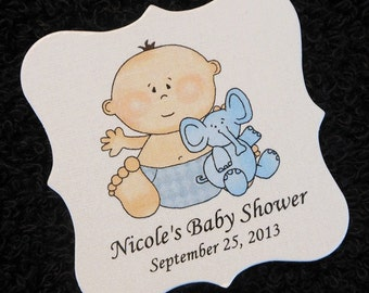 Personalized Baby Shower Favor Tags, baby boy with blue elephant, set of 20