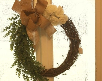Green and White Spring Wreath