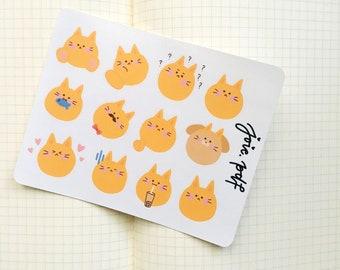 Cute Kitty Cat Goldfish Stickers