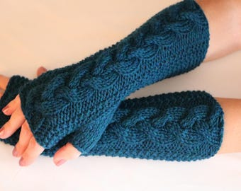 Wool Fingerless Gloves Mittens.Knit Cabled Arm Warmers Ocean Heather. Soft Women's Gloves