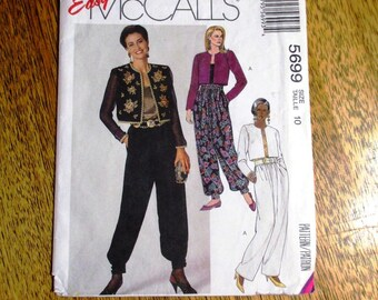 "BOHO 1990s High Waisted Harem Pants / Genie Trousers & Bolero Jacket (Gypsy Wear) - Size 10 (Bust 32.5"") - UNCUT Sewing Pattern McCalls 5699"