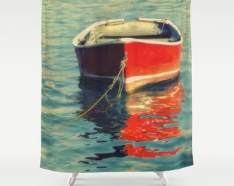 Shower Curtain | Wooden Boat Photo | Red Row Boat | Lake House Decor | Nautical Shower Curtain | Custom Bath Decor | New Home Gift