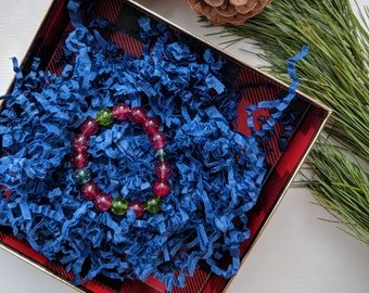 Festive holiday red and green bracelet