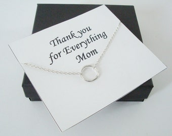 Infinity Twiggy Circle Silver Necklace ~~Personalized Jewelry Card for Mom, Mother in Law, Mother of Groom, or Step Mom, Thank You Card