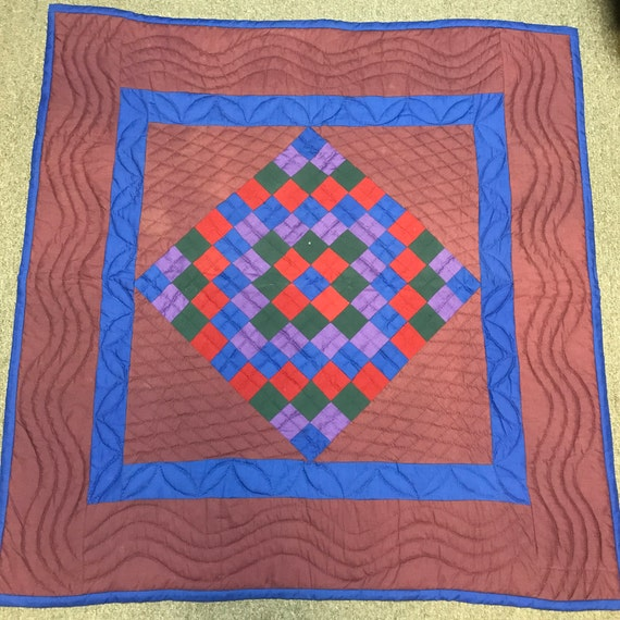 Amish Wall Hanging 44x47 Handmade Hand Quilted