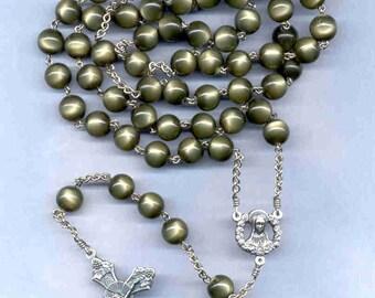 Dark olive green 10 mm 5 decade chain rosary