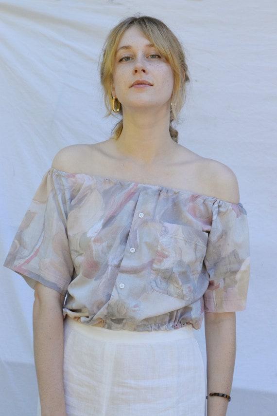 Lena Watercolor Off Shoulder Blouse