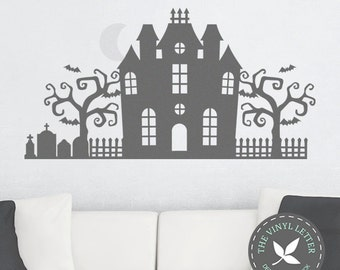 Halloween Scene | Vinyl Wall Holiday Decal Sticker | Haunted House Bats RIP Grave Tree Moon