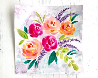 Spring Floral Painting 8x8 inch original painting on watercolor paper / watercolor & acrylic flower painting / spring home decor