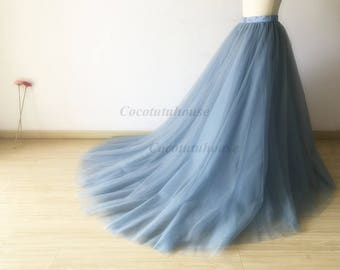 Dusty Blue Tulle Skirt With A Long Train/Floor Length Tulle /Adult Women Tulle Long Skirt/Wedding Dress/Bridesmaid/Valentine's Day /Prom