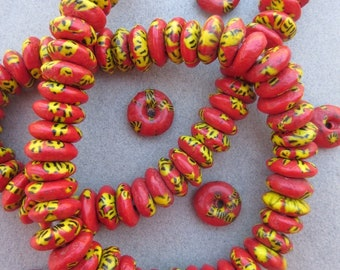 Red & Yellow Fused Ghana Glass Disk Beads (14x5mm) [68424]