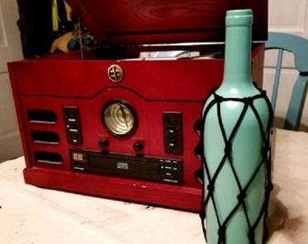 Jade Wine Bottle Vase w/ Black Faux Suede Cord