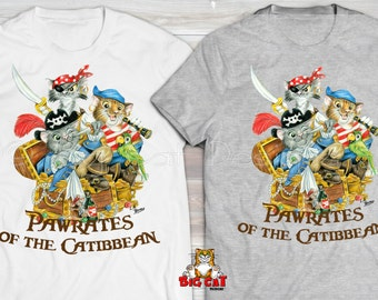 PIRATES of the CARIBBEAN CATS. Pirate Cat T-shirt.  Pawrates of the Catibbean.  Funny Cat Tshirt, Cat Lover Shirt.