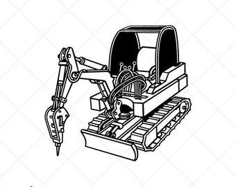 Mini Excavator with Jack Hammer Clipart-Vector Clip Art Graphics-Digital Download-Cut Ready Files-CNC-Vinyl Sign Design-Logo-eps, ai,svg,dxf