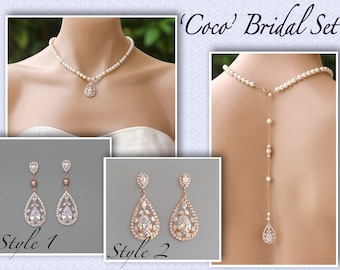 Freshwater Pearl Necklace Set Rose Gold Wedding